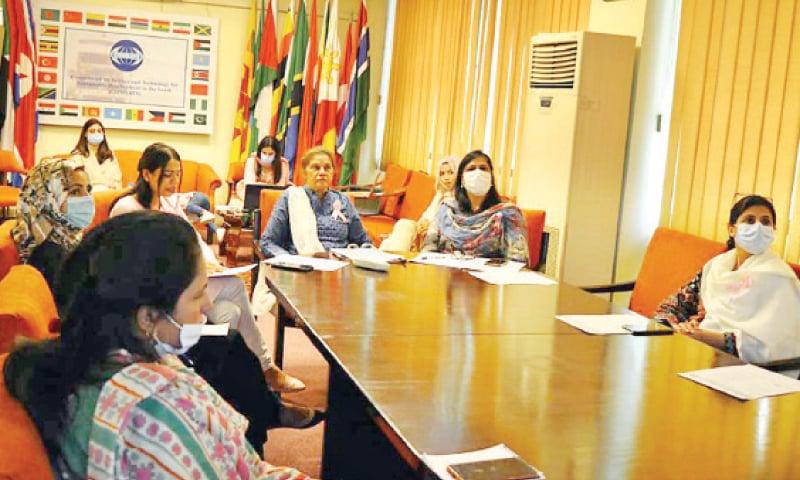 Ambassador Fauzia Nasreen presides over an awareness seminar on breast cancer on Sunday. — INP