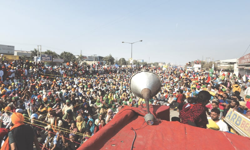 THOUSANDS of farmers attend a meeting at the Delhi-Haryana state border on Sunday. — AP