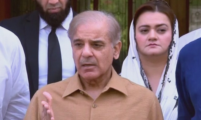 "Pakistan Muslim League-Nawaz (PML-N) president Shehbaz Sharif has called for a national dialogue among political forces to steer ""the country out of the present crisis"". — DawnNewsTV/File"