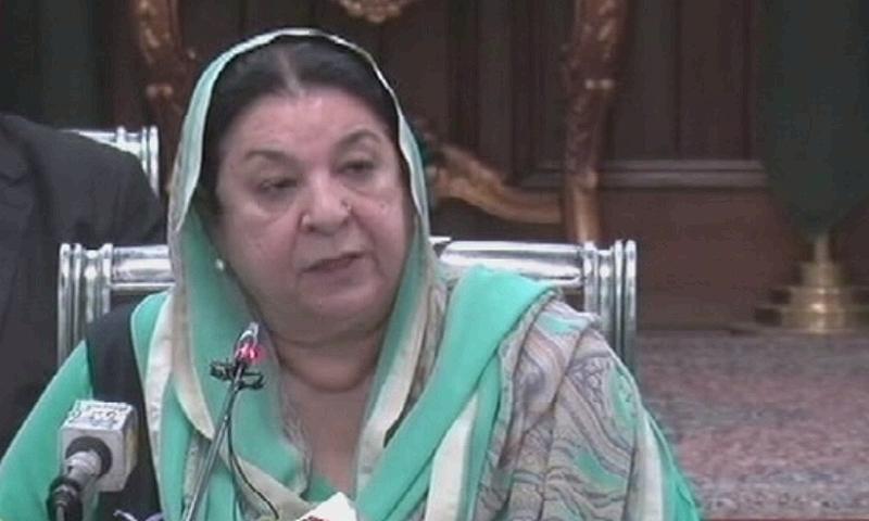 Punjab Health Minister Dr Yasmin Rashid addresses a press conference in Lahore on Sunday. — DawnNewsTV