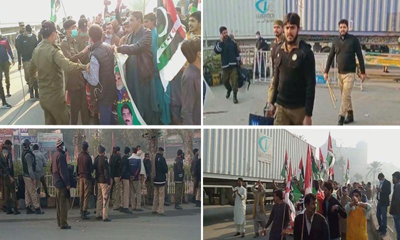 انتظامیہ نے رکاوٹیں کھڑی کی تھی جبکہ کارکنان کی بھی پکڑ دھکڑ کی گئی تھی—تصاویر: ڈان نیوز