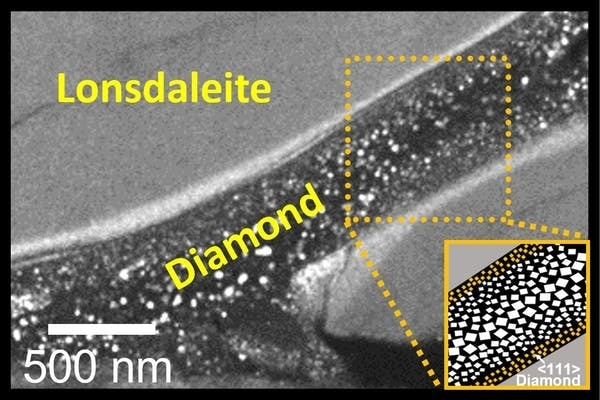 This electron microscope image shows a 'river' of diamond in a 'sea' of Lonsdaleite.