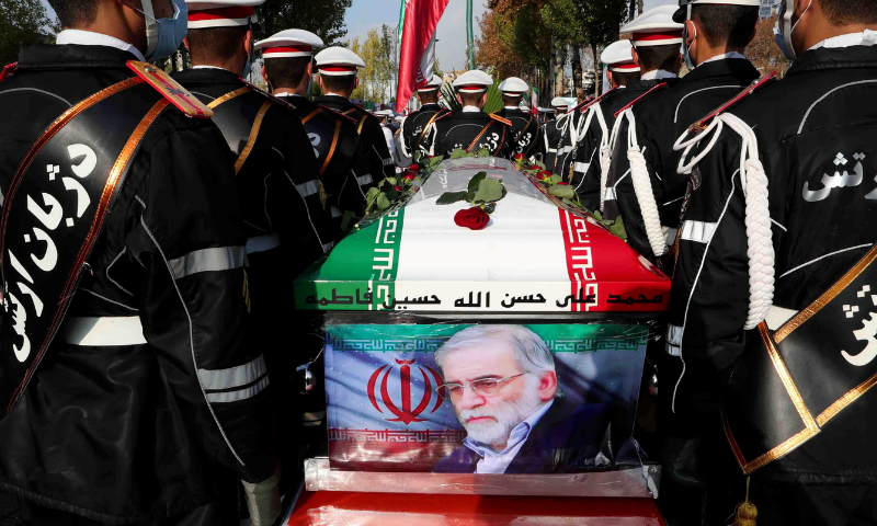 Members of Iranian forces carry the coffin of Iranian nuclear scientist Mohsen Fakhrizadeh during a funeral ceremony in Tehran, Iran on November 30, 2020. — Reuters