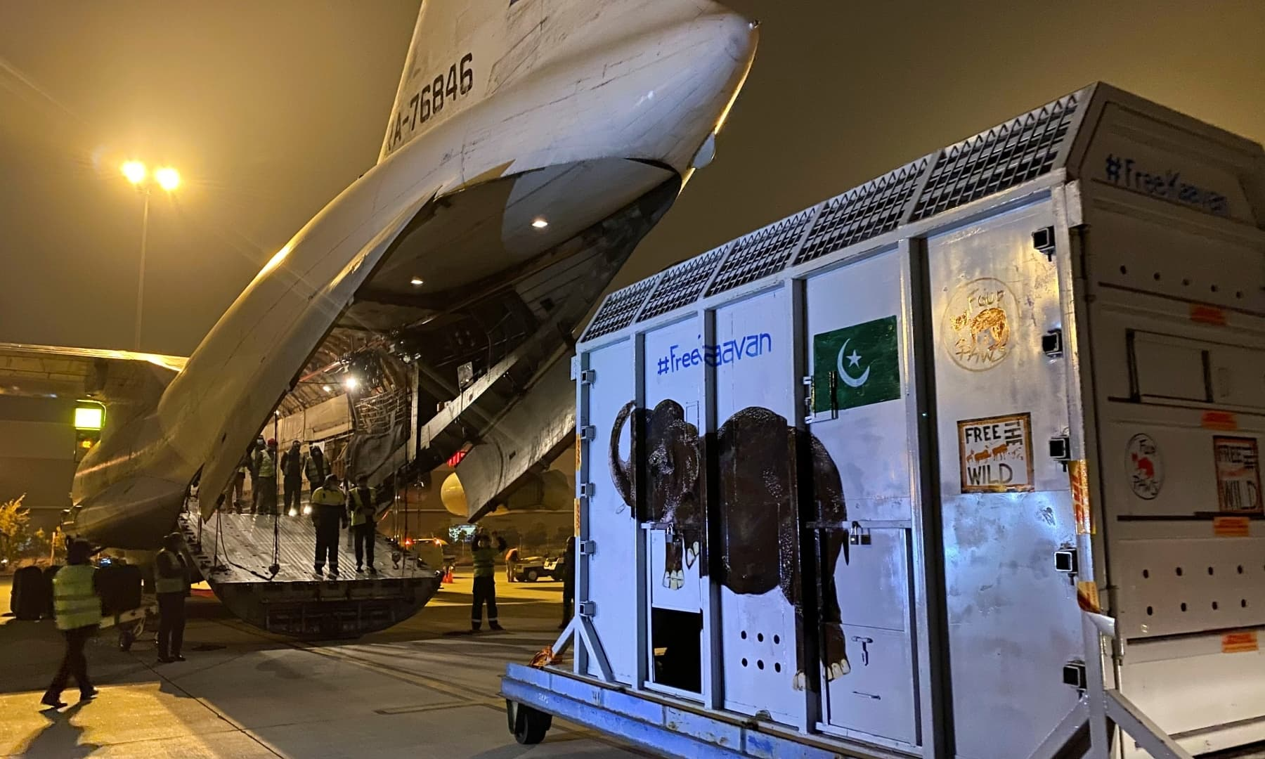A crate carrying Kaavan prior to his transfer to a sanctuary in Cambodia is seen at the Islamabad International Airport, November 30. — Reuters