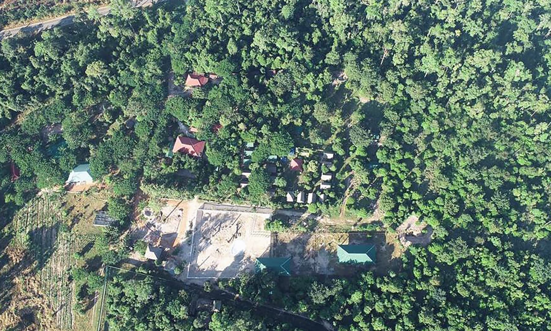 This undated aerial handout photo shows the under-construction enclosure for the Asian elephant Kaavan at the Kulen Prom Tep Wildlife Sanctuary in Oddar Meanchey province in Cambodia. — AFP/Cambodian Ministry of Environment