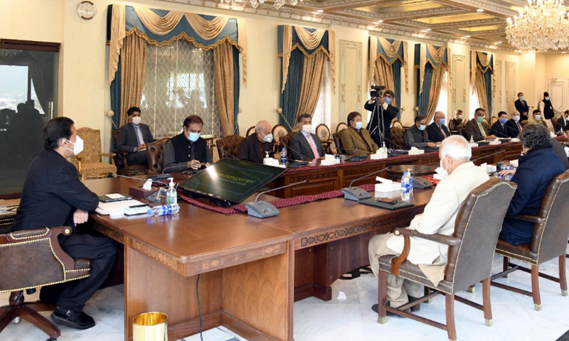 Prime Minister Imran Khan chairs a meeting on border management system in Islamabad on Monday. — PID