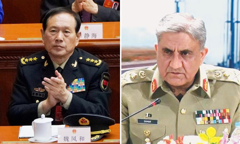 This combination file photo shows Minister of National Defence of China General Wei Fenghe and Chief of the Army Staff General Qamar Javed Bajwa. — Reuters/INP