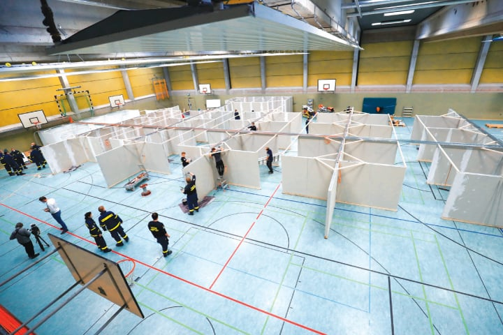 KASSEL: A view of a vaccination centre built by Germany's Federal Agency for Technical Relief.—Reuters