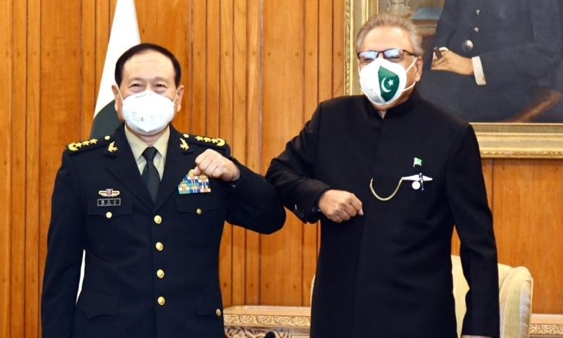 President Dr Arif Alvi welcomes Chinese National Defence Minister General Wei Fenghe, at Aiwan-e-Sadr. — Photo courtesy President of Pakistan Twitter