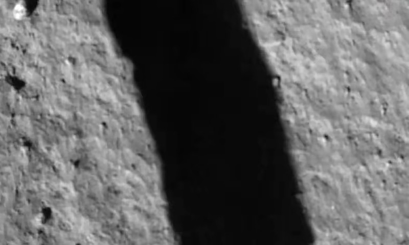 This picture shows an image taken by the camera attached to the Chang'e-5 spacecraft after its landing on the moon. — AFP