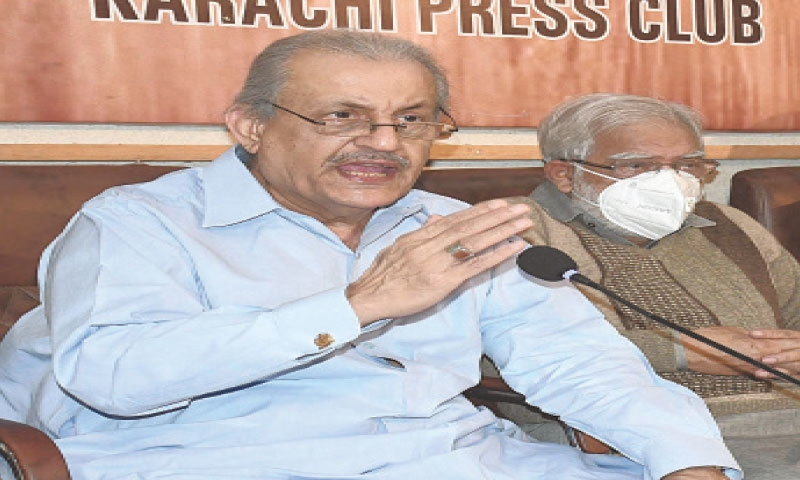 Raza Rabbani speaks at the press club on Wednesday and (right) workers protest outside the KPC.—Online/White Star