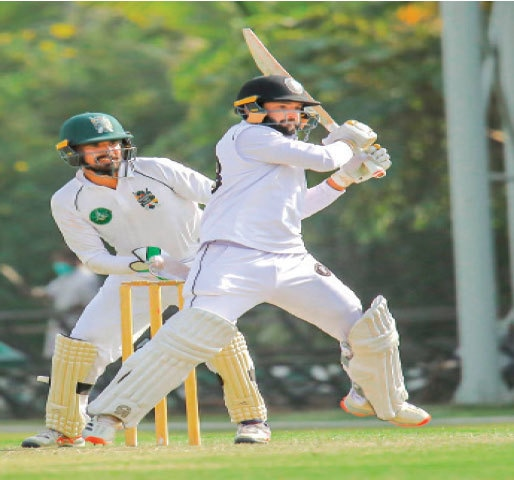 KHYBER Pakhtunkhwa's saviour Kamran Ghulam pulls durng his unbeaten 130 against Balochistan at the SBP Sports Complex on Wednesday.—Courtesy PCB