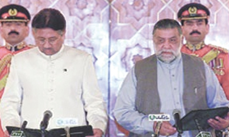 THIS file photo shows then president Gen Pervez Musharraf swearing in Mir Zafarullah Khan Jamali as the country's prime minister on Nov 23, 2002.
