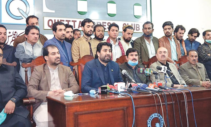 Deputy Speaker of the National Assembly Qasim Khan Suri addressing the press conference.—APP