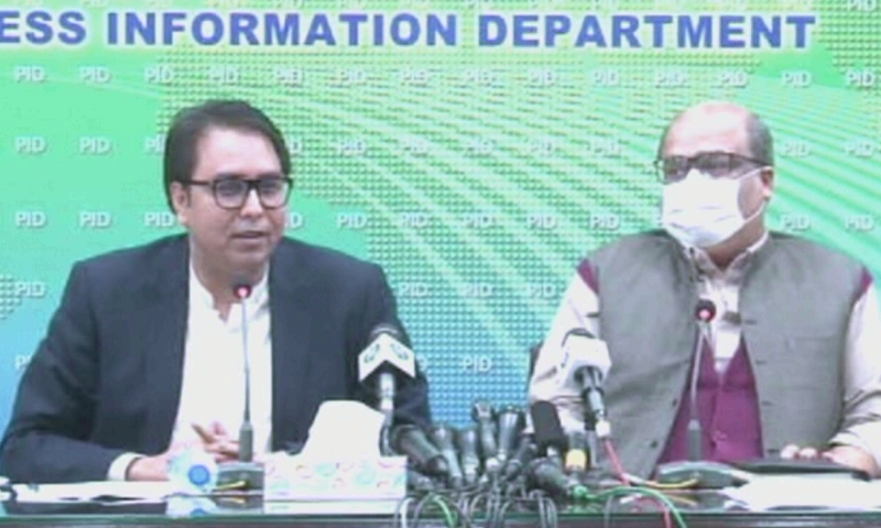 Special Assistant to Prime Minister for Political Communication Shahbaz Gill (left) and Adviser to Prime Minister on Accountability and Interior Barrister Mirza Shahzad Akbar address a press conference in Islamabad. — DawnNewsTV