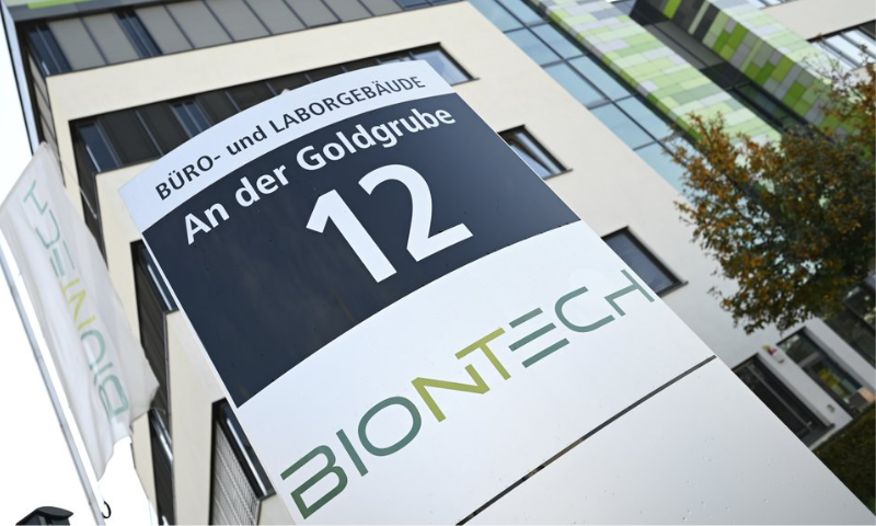 In this Monday, November 9, 2020 photo, the company sign of BioNtech stands in front of the companies headquarters in Mainz, Germany. — AP