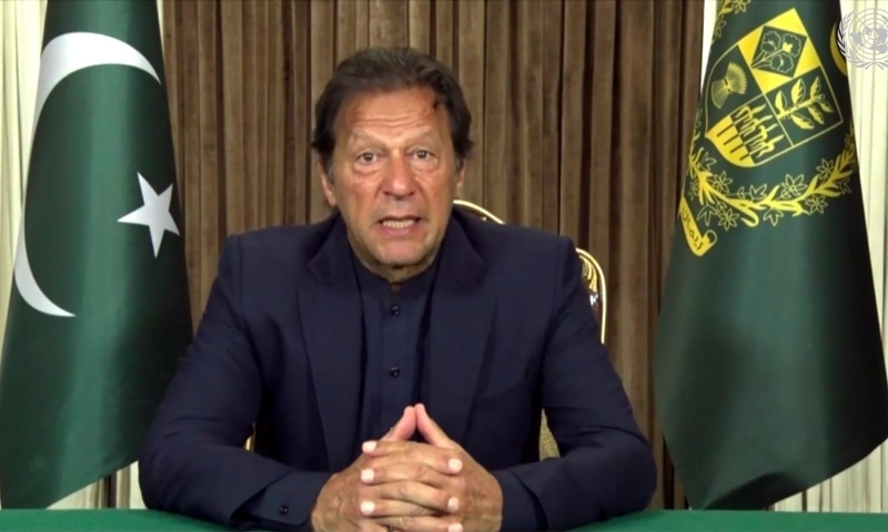 In this image made from UNTV video, Prime Minister Imran Khan in a pre-recorded message which was played during the UN General Assembly's special session to discuss the response to Covid-19  on Dec 3.  — AP