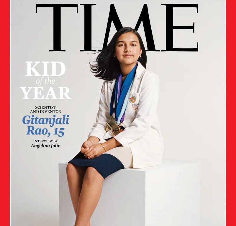 گیتا نجلی نے پینے کے پانی میں مضر صحت وائرسز کا پتہ لگانے والا آلہ بھی تیار کیا—فوٹو: ٹائم میگزین