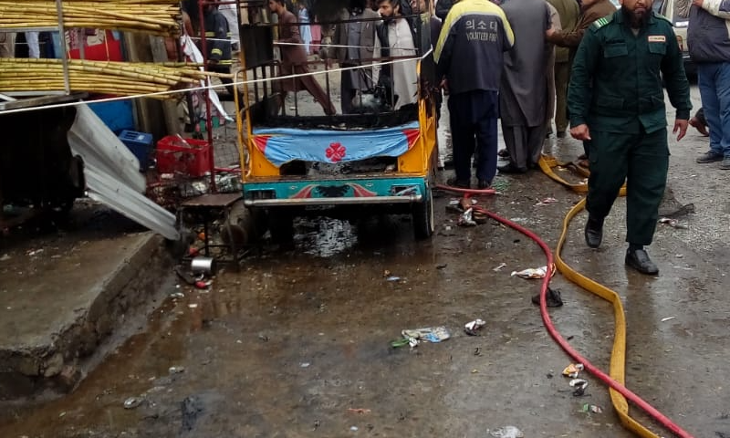 Photo shows the auto rickshaw in which the explosion occurred. — Tahir Naseer
