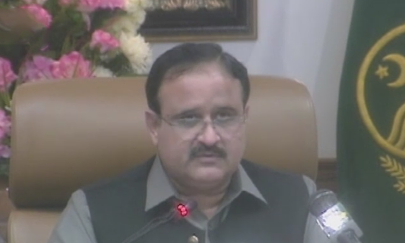Chief Minister Usman Buzdar addressing a press conference in Lahore. — DawnNewsTV