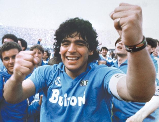 Maradona celebrates after Napoli clinches its first Italian major league title on May 10, 1987 | AP
