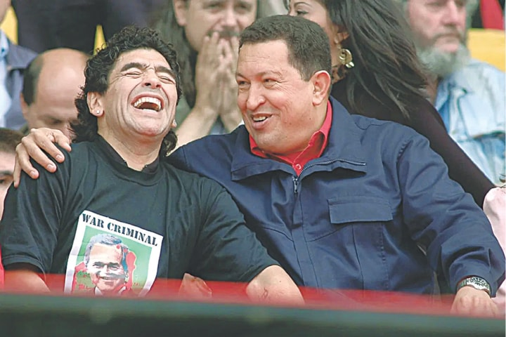 Maradona and the late Venezuelan President Hugo Chavez during a rally against the IV Summit of the Americas, in Mar del Plata, Argentina | AFP