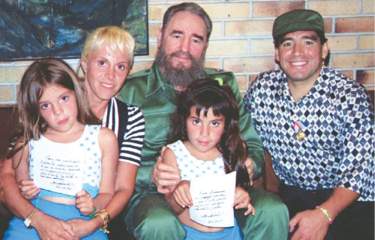 The late Cuban President Fidel Castro pictured with Maradona, his wife Claudia Villafane and their two children | Reuters