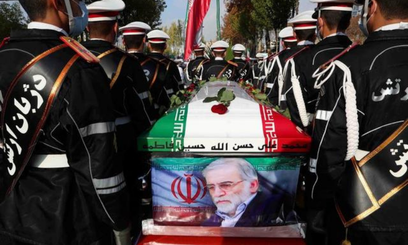 Members of Iranian forces carry the coffin of Iranian nuclear scientist Mohsen Fakhrizadeh during a funeral ceremony in Tehran, Iran on Nov 30. — Reuters/File