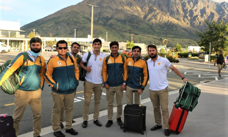 Members of the Pakistan team are pictured after their arrival in Queenstown, New Zealand on Monday. — Photo courtesy PCB Twitter
