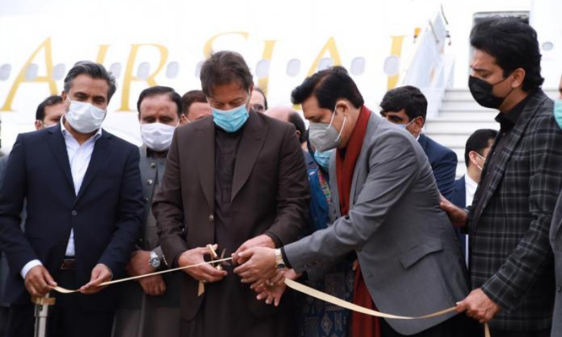 Prime Minister Imran Khan at the inauguration ceremony of AirSial in Sialkot. — APP