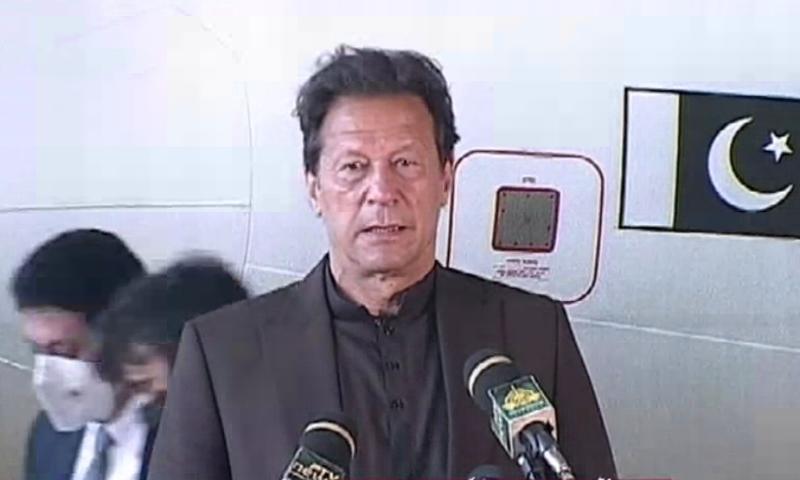 Prime Minister Imran Khan speaks to Sialkot's business community. — DawnNewsTV