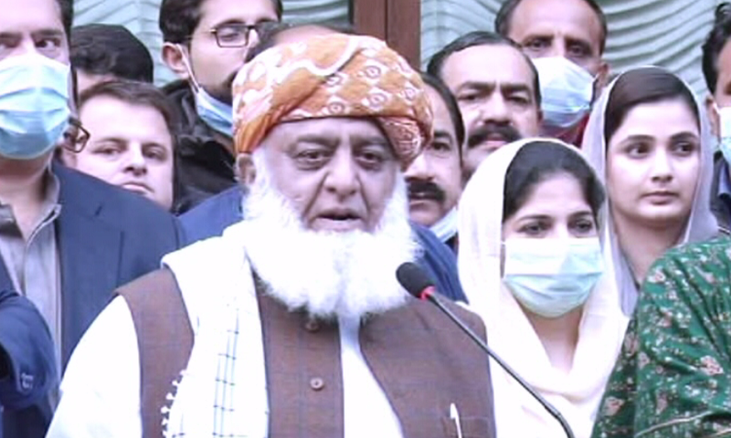 PDM president Maulana Fazlur Rehman speaks to the media in Islamabad. — DawnNewsTV