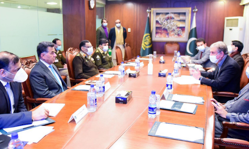 Foreign Minister Shah Mehmood Qureshi chairs an apex committee meeting on regional peace and security at the Ministry of Foreign Affairs on Wednesday. — PID