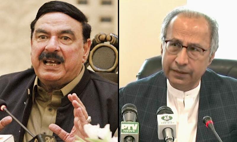 This combo photo shows Sheikh Rashid and Hafeez Shaikh separately addressing the media. — Dawn.com