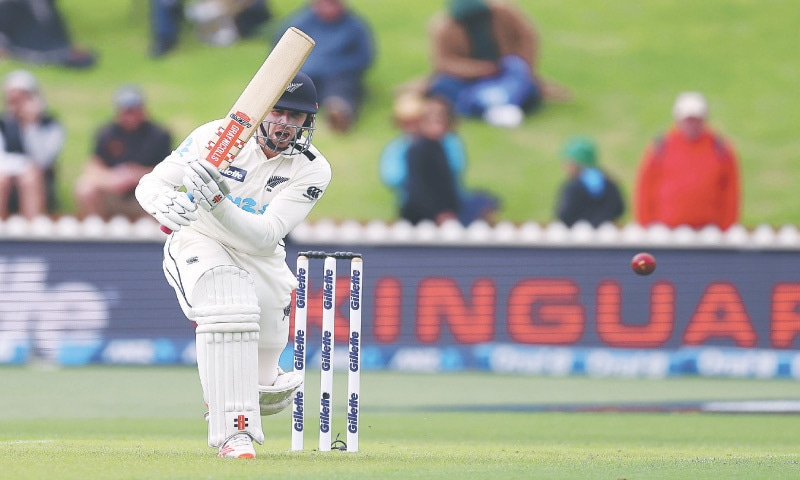 WELLINGTON: New Zealand batting hero Henry Nicholls drives during his unbeaten century against West Indies in the second Test at Basin Reserve on Friday. — AFP