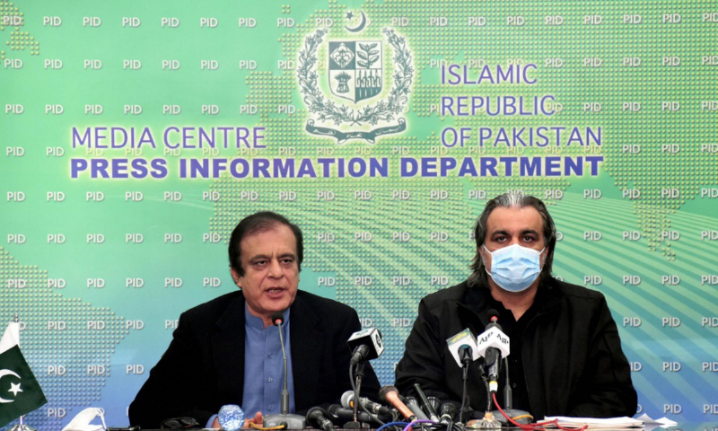 Minister for Information Senator Shibli Faraz and Minister for Kashmir Affairs and Gilgit-Baltistan Ali Amin Gandapur addressing a press conference in Islamabad on Friday. — PID