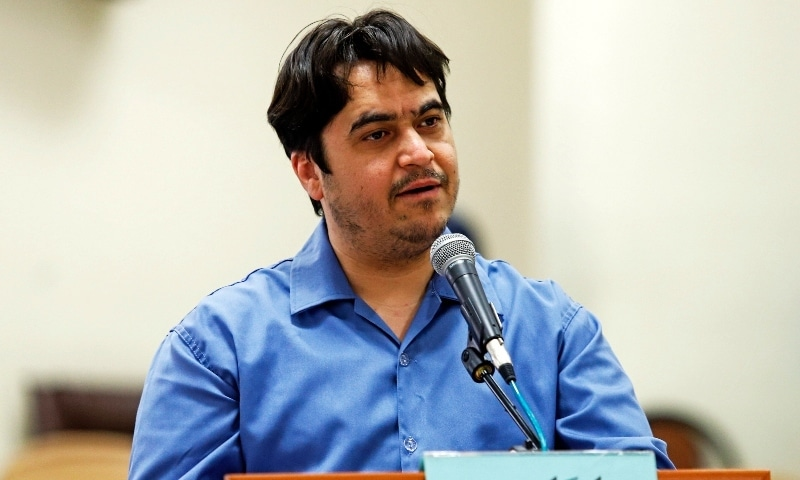 In this June 2020 file photo, ournalist Ruhollah Zam speaks during his trial at the Revolutionary Court in Tehran. —  AP