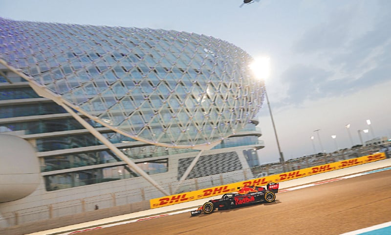 ABU DHABI: Red Bull's Max Verstappen drives during the qualifying session for the Abu Dhabi F1 Grand Prix at the Yas Marina Circuit on Saturday.—AFP