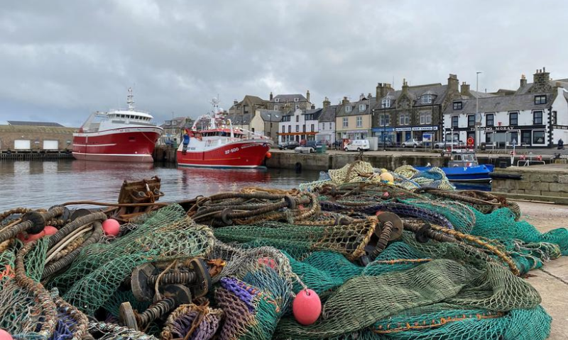 View of fishing boats and a net in the coastal town of Macduff, Aberdeenshire, Scotland, Britain. — Reuters/File
