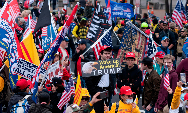 Supporters of United States President Donald Trump rally at Freedom Plaza in Washington, DC, on Dec 12, 2020, to protest the 2020 election. — AFP
