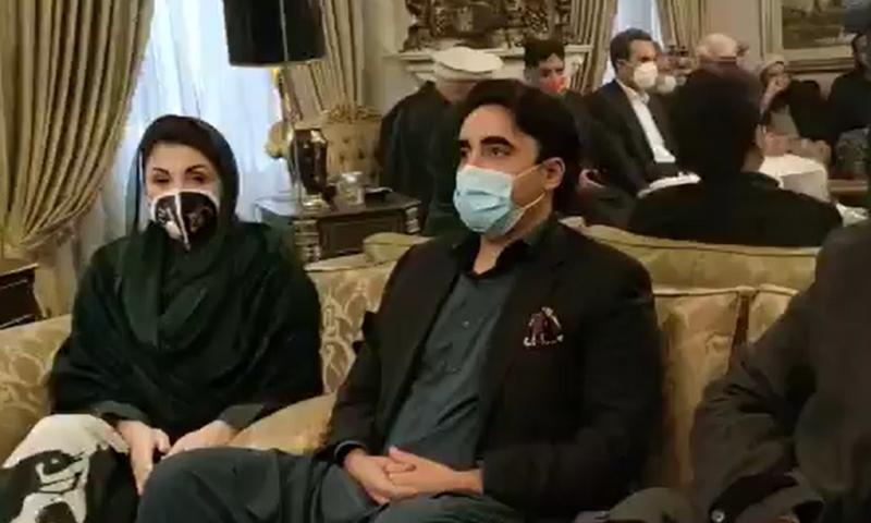PML-N Vice President Maryam Nawaz and PPP Chairperson Bilawal Bhutto-Zardari at PML-N leader Ayaz Sadiq's house in Lahore. — DawnNewsTV