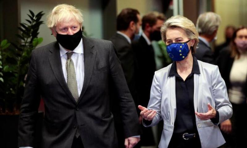 European Commission President Ursula von der Leyen welcomes British Prime Minister Boris Johnson in Brussels, Belgium on Dec 9. — Reuters/File