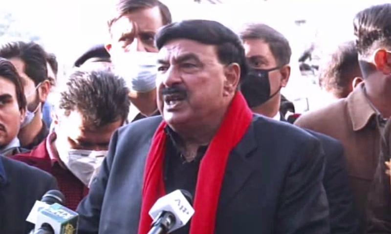 Minister for Interior Sheikh Rashid Ahmed speaks to the media in Islamabad. — DawnNewsTV