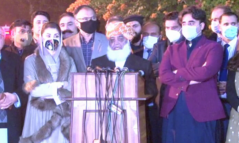 PDM leaders speak to the media in Lahore on Monday. — DawnNewsTV