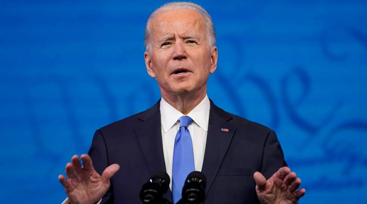 US President-elect Joe Biden speaks after the Electoral College formally elected him as president, Monday at The Queen theater in Wilmington. — AP