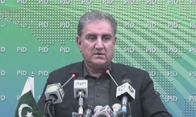 Foreign Minister Shah Mahmood Qureshi  addressing a press conference in Islamabad on Tuesday. — DawnNewsTV/File