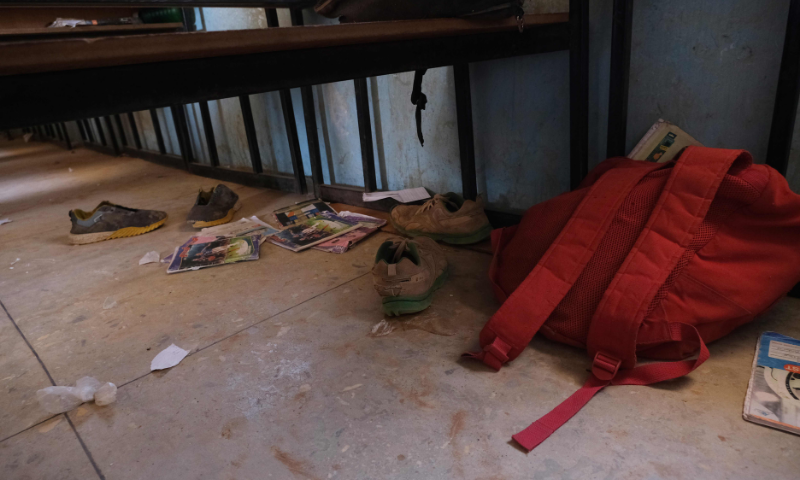 School bags and wares belonging to pupils at the Government Science school are seen on the floor where gunmen abducted students, in Kankara, in northwestern Katsina state, Nigeria on December 15. — AFP