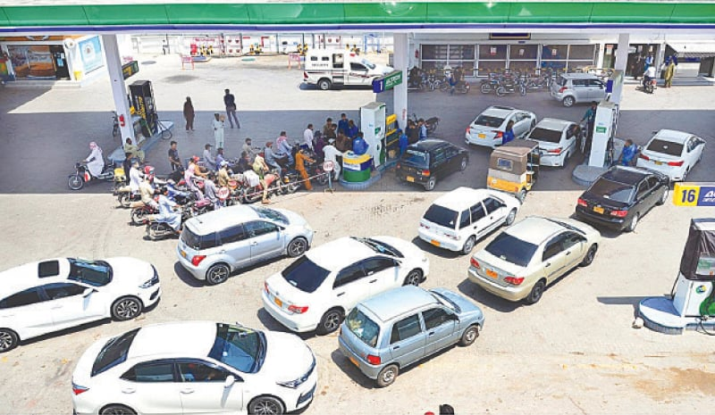 HYDERABAD: A large number of vehicles wait for their turn at a petrol pump in this file photo.
