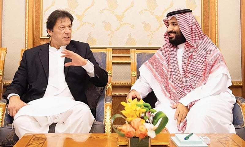 Prime Minister Imran Khan in conversation with Saudi Crown Prince Mohammed bin Salman during the premier's trip to Riyadh in October 2018. — Online/File