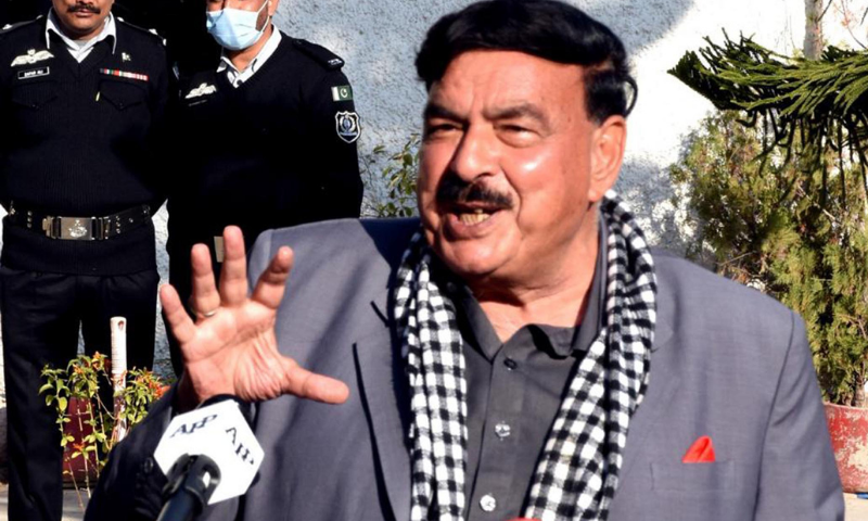 Interior Minister Sheikh Rashid Ahmed speaks to the media outside the Federal Investigation Agency (FIA) headquarters on Wednesday. — PID